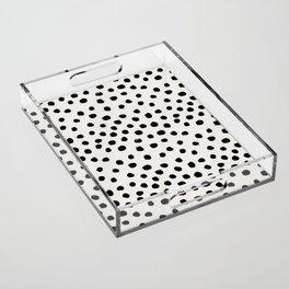 Preppy brushstroke free polka dots black and white spots dots dalmation animal spots design minimal Acrylic Tray