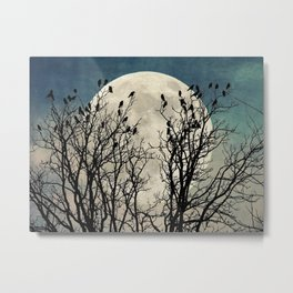 Black Birds Crow Raven Tree Moon Teal Blue Sky Art A541 Metal Print