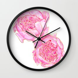 Pink and gold peonies, Sally Wall Clock