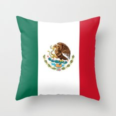 The National flag of Mexico (Officially the Flag of the United Mexican States)  Throw Pillow