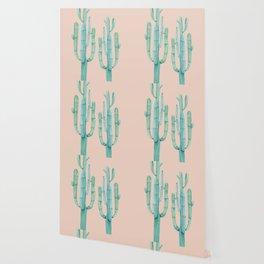 Besties Cactus Friends Turquoise + Coral Wallpaper