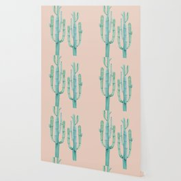 Besties Cactus Friends Turquoise + Coral Wallpaper