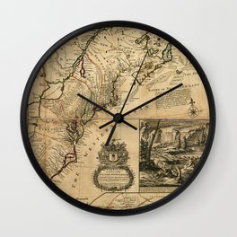 Map of North America (British Colonies) 1731 Wall Clock