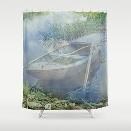 Lonely again in the fog Shower Curtain