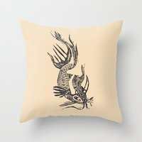 data Throw Pillows featuring Data Fish by Samantha Witherford