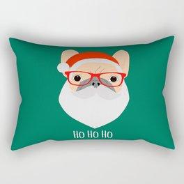 Santa Bulldog Rectangular Pillow