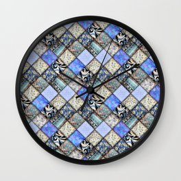 Faux Patchwork Quilting - Blues Wall Clock