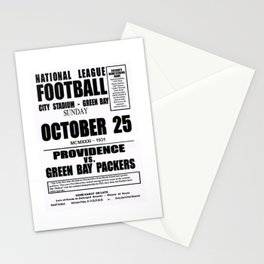 1931 Football Game Poster Providence Steam Roller vs. Green Bay - City Stadium Wisconsin Stationery Cards