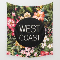 west coast Wall Tapestries featuring West Coast by Text Guy