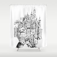 chihiro Shower Curtains featuring Island by Sandra Ink