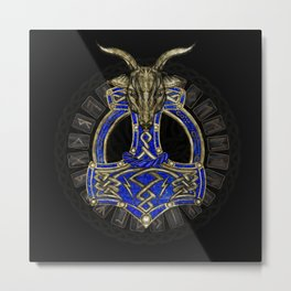 The hammer of Thor - Gold and Lapis Lazuli Metal Print