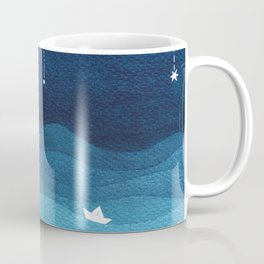Falling stars, blue, sailboat, ocean Coffee Mug