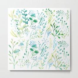 Watercolor Leaves I Metal Print