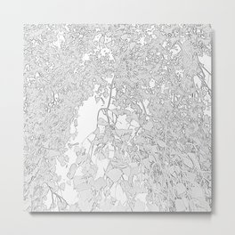 White Leaves Metal Print