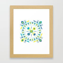 Folk Flowers in Yellow and Turquoise Framed Art Print