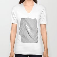 minimal V-neck T-shirts featuring Minimal Curves by Leandro Pita