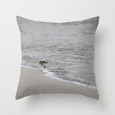 Lonely Sandpiper Throw Pillow