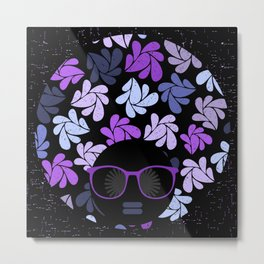 Afro Diva Purple Metal Print