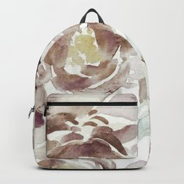 Earthy Painterly Floral Abstract Backpack
