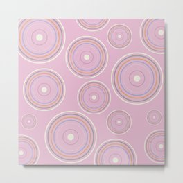 CONCENTRIC CIRCLES IN PINK (abstract pattern) Metal Print