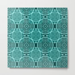 Turquoise abstract seamless lace pattern texture background Metal Print