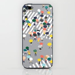Crossing The Street on a Rainy Day - Grey iPhone Skin
