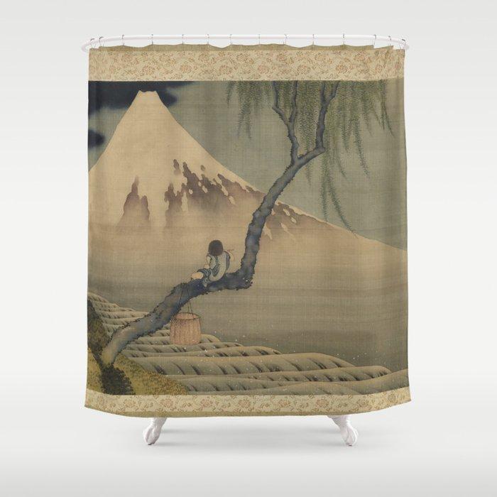 Boy Viewing Mount Fuji By Katsushika Hokusai Shower Curtain