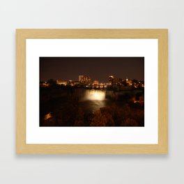 High Falls at Night White Framed Art Print