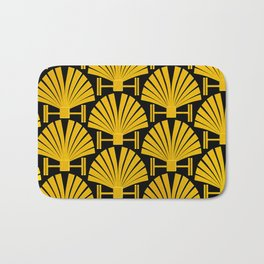 Art Deco Gold Palm Fan Pattern Bath Mat