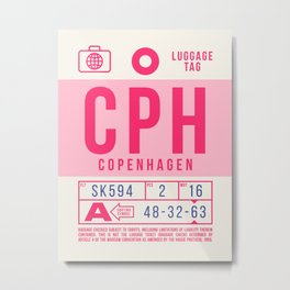 Baggage Tag B - CPH Copenhagen Denmark Metal Print