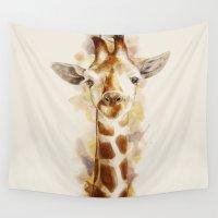 giraffe Wall Tapestries featuring giraffe by beart24