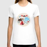 scandinavian T-shirts featuring Scandinavian retro moose pattern by Little Smilemakers Studio