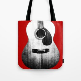 Guitar - Body, Red Background Tote Bag