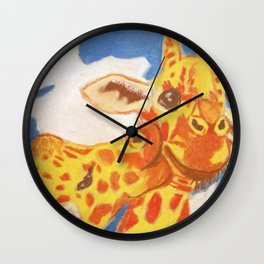 Two Giraffes, One Giraffe is Kissing Another on its Cheek Wall Clock