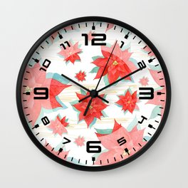 Red poinsettia #2 Wall Clock