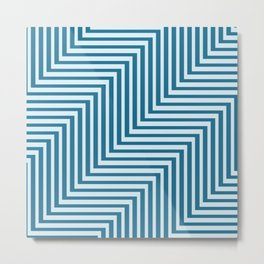 Bold Blue on Blue Zig Zag Metal Print