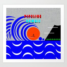 Pipeline Hawaii stickman design A Art Print