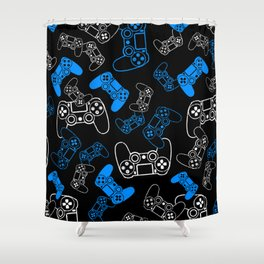 Video Games Blue on Black Shower Curtain
