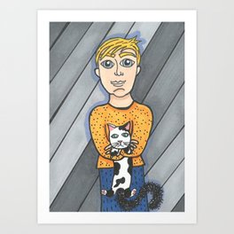 Boy and his crabby cat Art Print