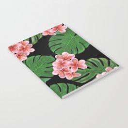 Tropical Floral Print Black Notebook