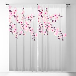 Cherry Blossoms Pink Gray Blackout Curtain
