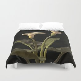 White Calla Lilies On A Black Background Duvet Cover