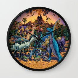 Dinosaurs flee the volcano Wall Clock