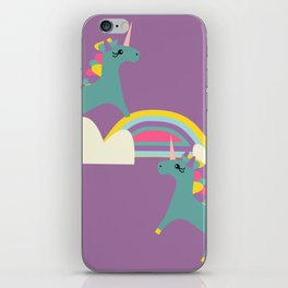 unicorn and rainbow purple iPhone Skin