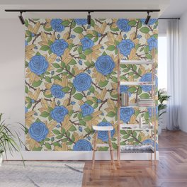 Blue Roses and Crystals Pattern Wall Mural