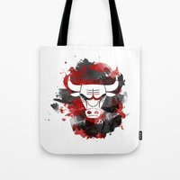 chicago bulls Tote Bags featuring Bulls Splatter by OhMyGod, SoGood!