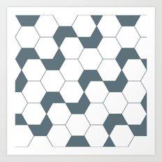 Slate gray hexagon pattern Art Print