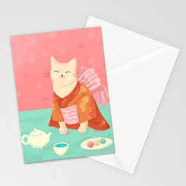 Cute Cat in a Kimono Drinking Matcha Tea and Eating Dango Stationery Cards