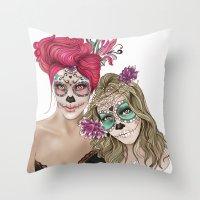 dia de los muertos Throw Pillows featuring Dia de los muertos by alicetischer