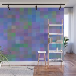 geometric square pixel pattern abstract in purple blue pink Wall Mural